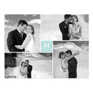 El boda cuadrado de centro del monograma le postal