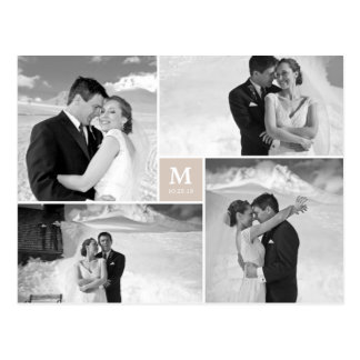 El boda cuadrado de centro del monograma le tarjeta postal