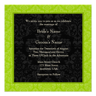 El boda cuadrado del monograma del damasco de Gree Comunicado