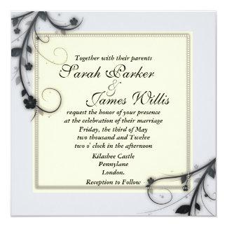 """El boda cuadrado floral invita [el ganador del invitación 5.25"""" x 5.25"""""""