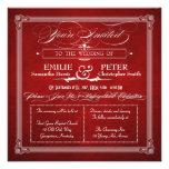 El boda cuadrado rojo y de plata del poster del vi comunicados