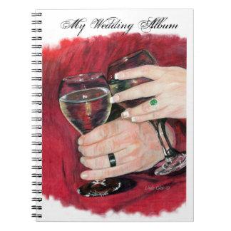 El boda da el álbum de foto libro de apuntes