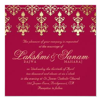 """El boda de 232 indios invita al vino del otoño del invitación 5.25"""" x 5.25"""""""
