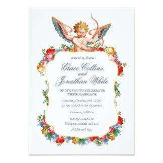"""El boda de encargo del ángel del Cupid invita Invitación 5"""" X 7"""""""