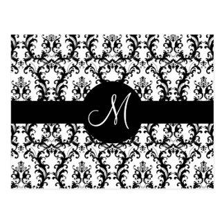 El boda de encargo del damasco del monograma le ag tarjetas postales