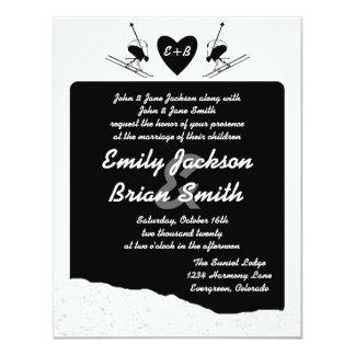 """El boda de encargo del esquiador blanco negro invitación 4.25"""" x 5.5"""""""