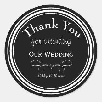 El boda de encargo le agradece alrededor del pegatina redonda