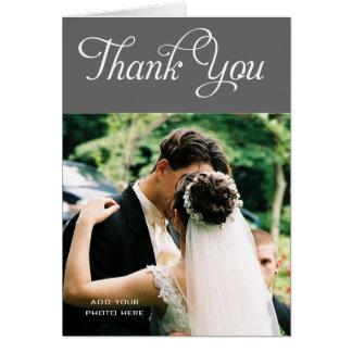 El boda de encargo le agradece gris del mensaje de tarjeta pequeña