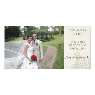 El boda de encargo le agradece tarjeta de la foto tarjeta con foto personalizada