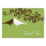El boda de encargo verde de la foto de los pájaros felicitacion