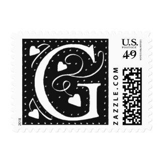 El boda de G de la letra sella el diseño negro Sello Postal