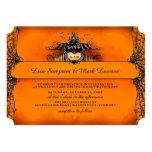 El boda de Halloween invita - a amor anaranjado y Invitación 12,7 X 17,8 Cm