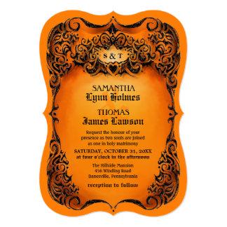 El boda de Halloween invita - a la frontera Invitación 12,7 X 17,8 Cm