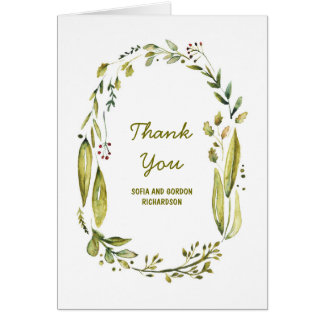 El boda de la acuarela del arbolado del laurel le tarjeta pequeña