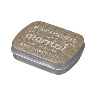El boda de la arpillera come, bebe, sea latas casa frascos de caramelos