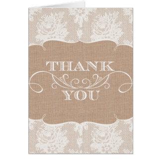 El boda de la arpillera y de la impresión del cord tarjeta de felicitación
