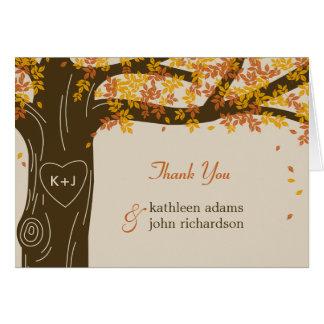 El boda de la caída del roble le agradece las tarjeta pequeña