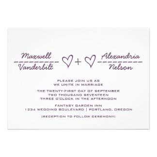 El boda de la ecuación de Purple Heart invita Anuncios Personalizados