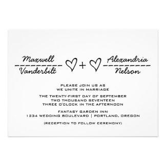 El boda de la ecuación del corazón del ébano invit comunicado