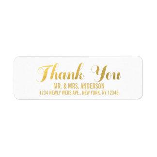 El boda de la elegancia del oro le agradece etiquetas de remite