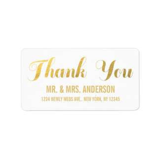 El boda de la elegancia del oro le agradece etiquetas de dirección