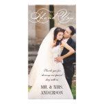 El boda de la escritura le agradece tarjetas con fotos personalizadas