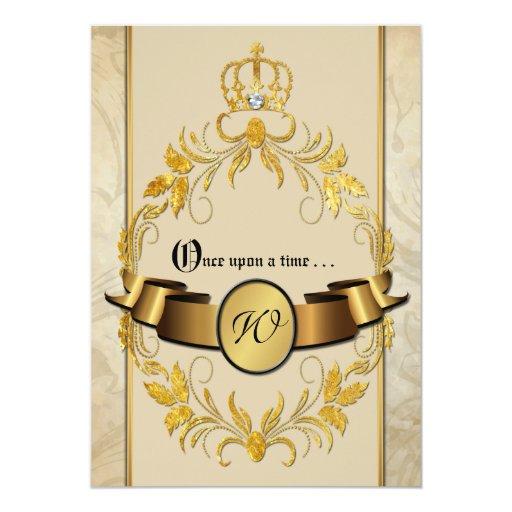 """El boda de la fantasía del monograma invita érase invitación 5"""" x 7"""""""
