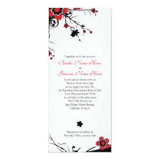 """El boda de la flor de cerezo invita invitación 4"""" x 9.25"""""""