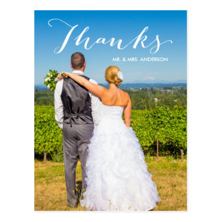 El boda de la foto de la gratitud el | le agradece tarjetas postales
