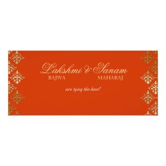 """El boda de la foto invita al oro anaranjado indio invitación 4"""" x 9.25"""""""