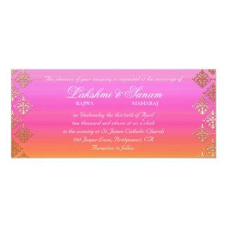 """El boda de la foto invita al oro anaranjado rosado invitación 4"""" x 9.25"""""""