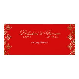 """El boda de la foto invita al oro del rojo indio invitación 4"""" x 9.25"""""""