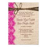 El boda de la guita del cordón del rosa de la invitaciones personales