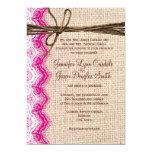 El boda de la guita del cordón del rosa de la invitacion personal