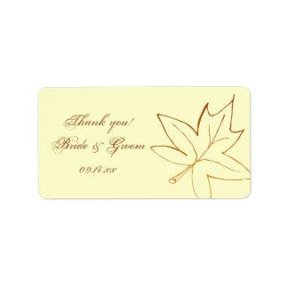 El boda de la hoja de arce del otoño le agradece e etiqueta de dirección