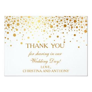"""El boda de la hoja de oro del confeti le agradece invitación 4.5"""" x 6.25"""""""