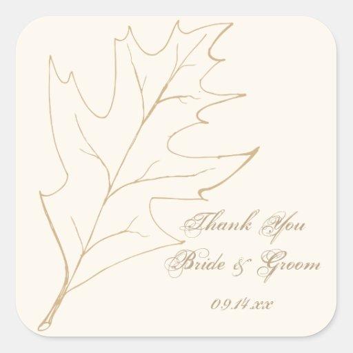 El boda de la hoja del roble del otoño le agradece calcomania cuadradas personalizadas