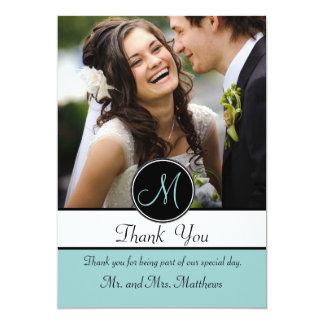 El boda de la inicial del negro azul le agradece invitación 12,7 x 17,8 cm