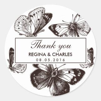 El boda de la mariposa de Brown del vintage le Pegatina Redonda