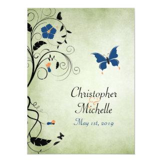 """El boda de la mariposa de la flor invita, invitación 5.5"""" x 7.5"""""""