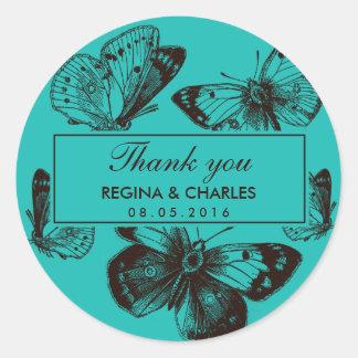 El boda de la mariposa de las azules turquesas le pegatina redonda