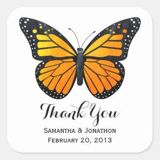 El boda de la mariposa de monarca le agradece pegatina cuadrada