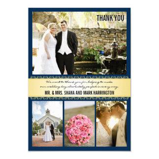 El boda de la Multi-foto del oro de la marina de Invitación 12,7 X 17,8 Cm