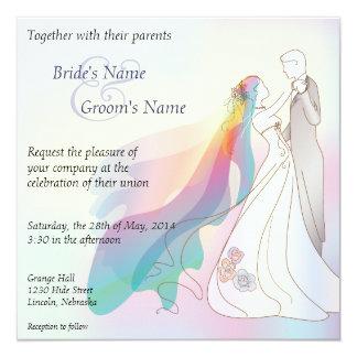 """El boda de la novia y del novio del arco iris invitación 5.25"""" x 5.25"""""""