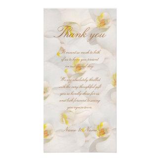 El boda de la orquídea le agradece blanco con clas tarjeta fotografica personalizada