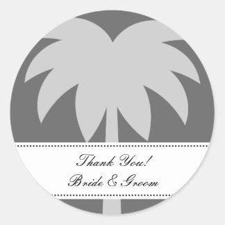 El boda de la palma le agradece sellador del sobre pegatina redonda