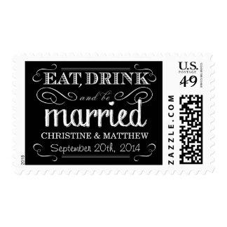 El boda de la pizarra come la bebida sea franqueo
