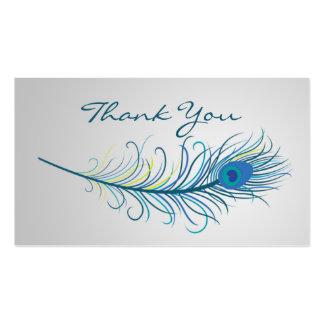 El boda de la pluma del pavo real le agradece tarjetas de visita