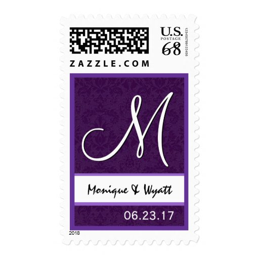 El boda de la púrpura real nombra el monograma Ver Sello Postal