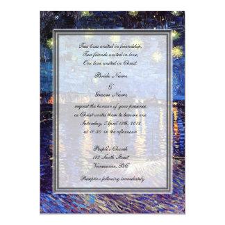 """el boda de la religión, noche estrellada de Van Invitación 5"""" X 7"""""""